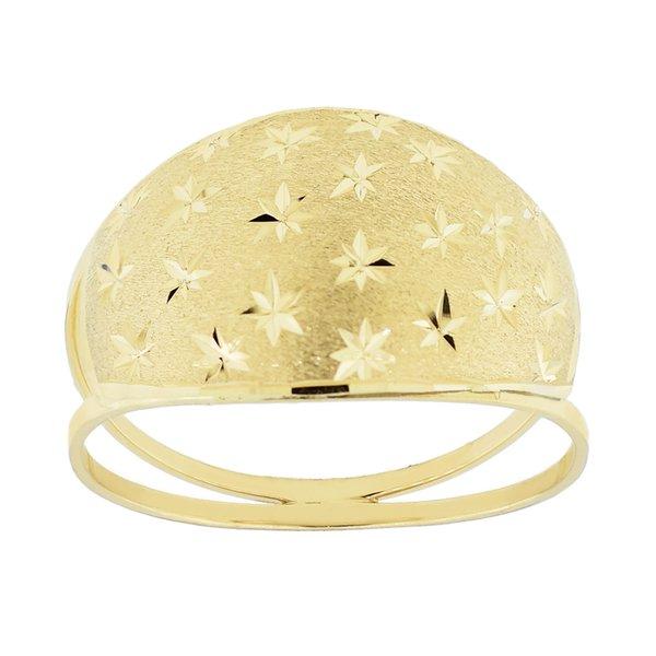Anel com Chapa Diamantada Fosco Ouro 18K
