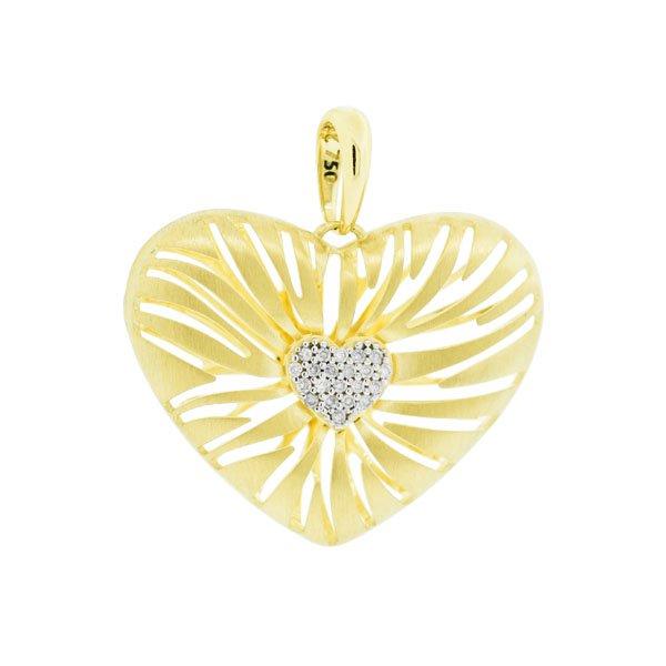 Pingente Coração Grande com Diamantes Ouro 18K