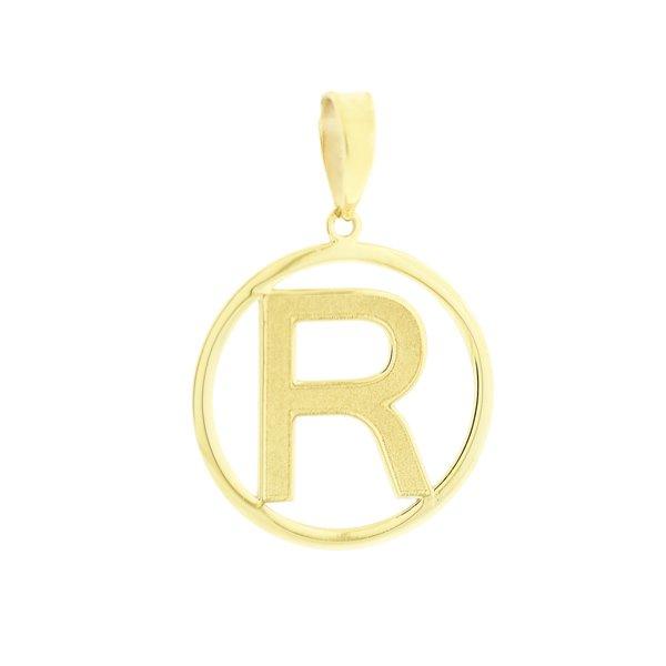 Pingente Letra R com Círculo em Ouro 18K