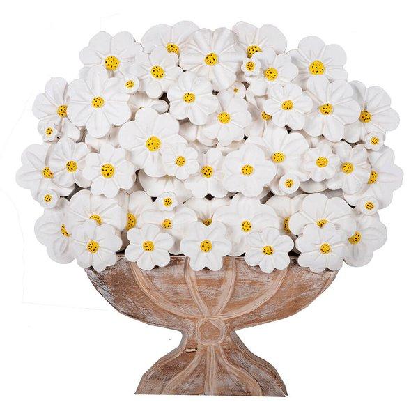 Painel Médio de Ânfora Larga com Flores Brancas