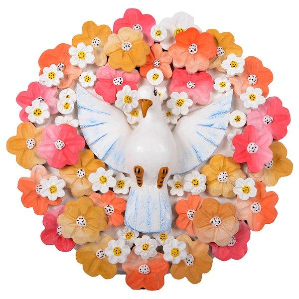 Divino Espírito Santo Mandala com Esculturas de Flores Coloridas 0,40 M