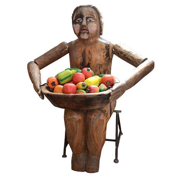 Escultura Boneca Gorda Fruteira Sentada