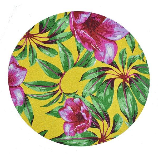 Sousplat de Chita Amarela com Flores Rosas