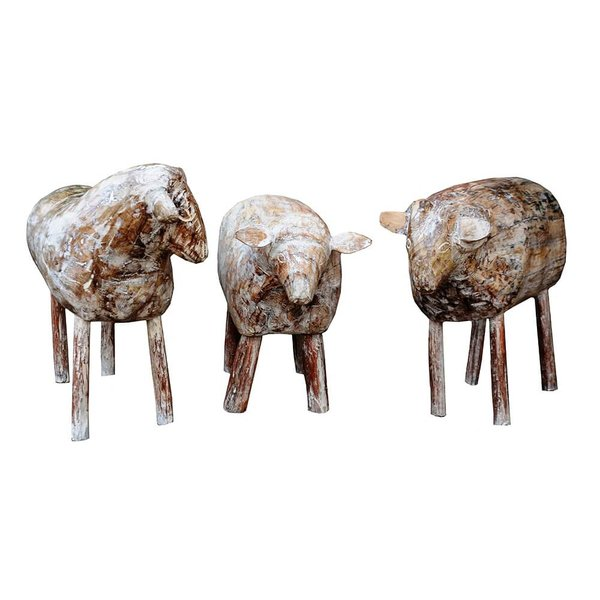 Escultura de Ovelha em Madeira G