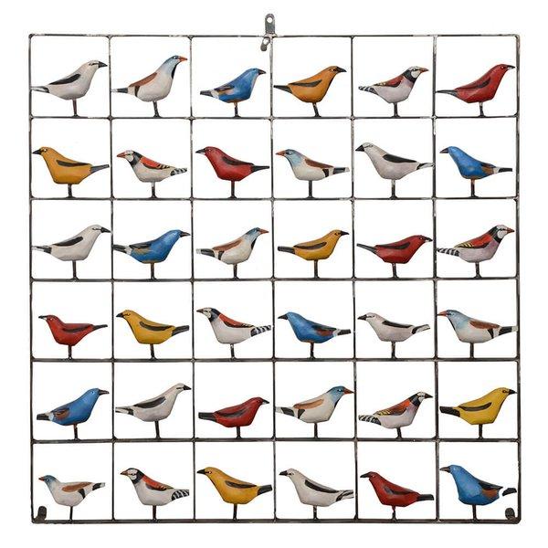 Painel Grade de Pássaros 36 pçs.
