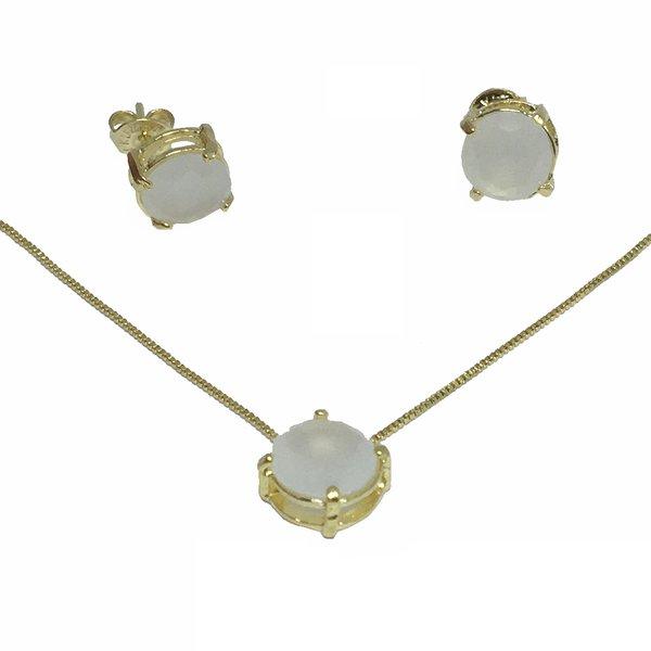 Pingente Banho de Ouro Ponto de Luz de Zircônia Branca Leitosa