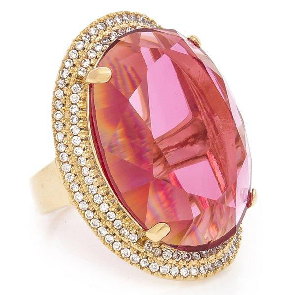 Anel Oval Semijoia Banho de Ouro 18K Cristal Rosa e Cravação de Zircônias