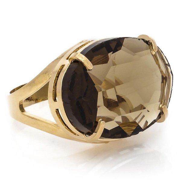 Anel Oval Cristallo Semijoia Banho de Ouro 18K Cristal Fumê
