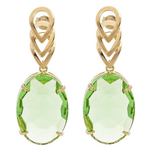 Brinco Oval Cristallo Semijoia Banho de Ouro 18K Cristal Verde