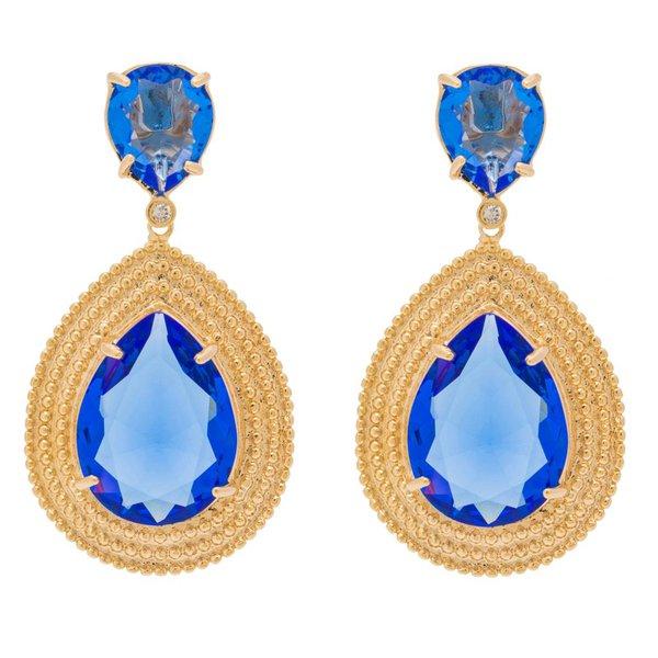 Brinco Gota Microesfera Semijoia Banho de Ouro 18K Cristal Azul Safira Cravejado com Zircônias