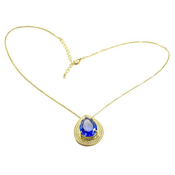 Colar Pingente Gota Semijoia Banho de Ouro 18K Cristal Azul