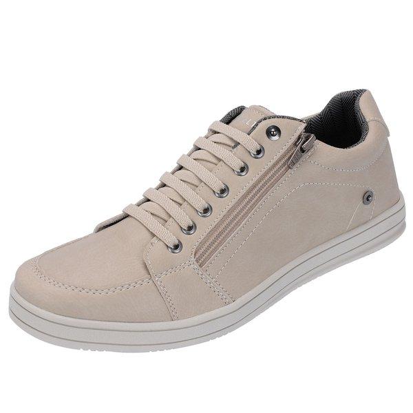 Sapato Casual Masculino com zíper Lateral Bege