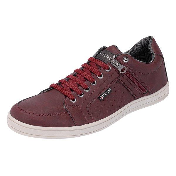 Sapato Casual Masculino com zíper Lateral Vinho