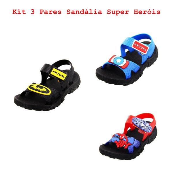 Kit 3 Sandálias Infantil Super Heróis
