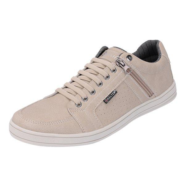 Sapato Casual Masculino com zíper Lateral Areia Frete INCLUSO
