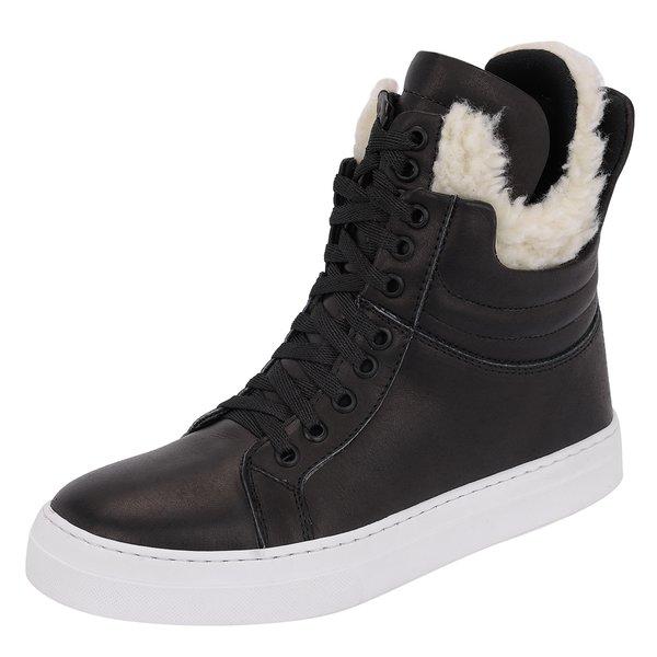 Bota couro sneaker Feminina Fitness Preta