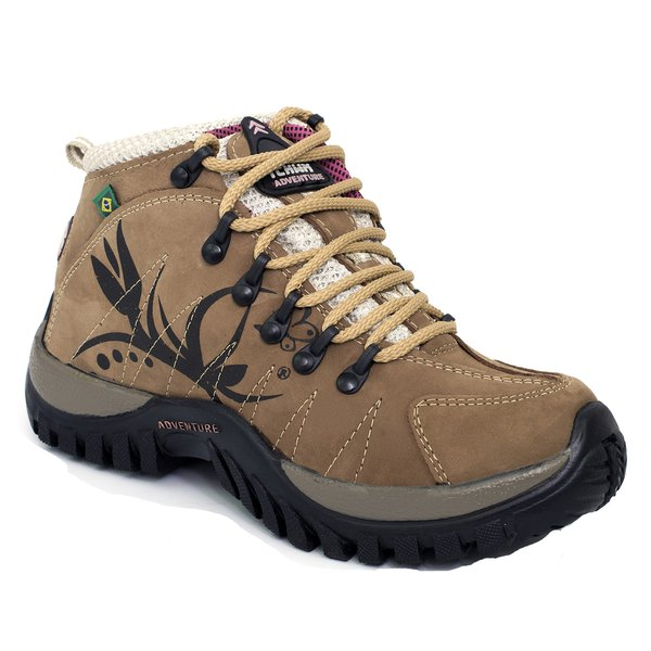 Bota Coturno Adventure Trekking Feminina Couro Nobuck Rato - Black Friday 56a4cd4ed6