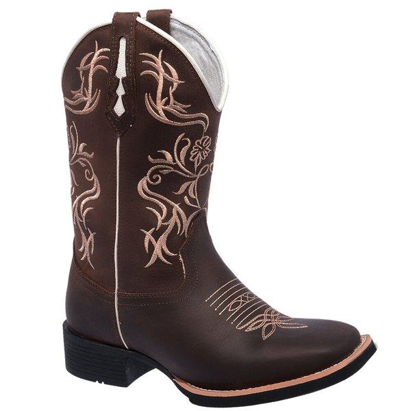 Bota Texana Feminina em Couro Legítimo Marrom Bordado Bege Bico Quadrado  TexasKing 1897d8cfe3f