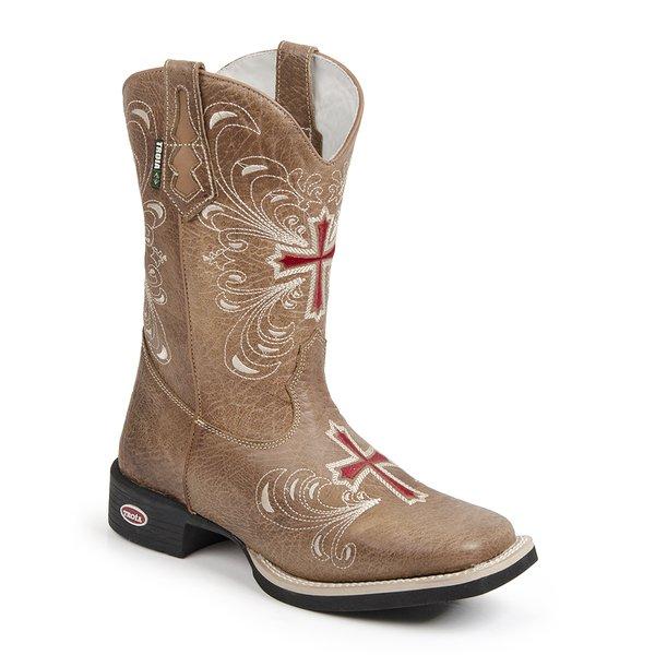 2187f2f34d13c Bota Texana Tróia Bico Quadrado Cano Médio Imitação Elefante Cor Whisky -  Bordado Cruz (Botas