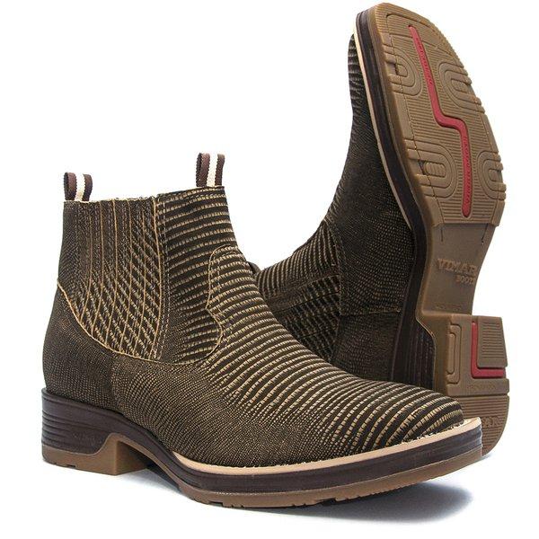 Botina Masculina - Tejus Café - Roper - Bico Quadrado - Solado Strong Shock - Vimar Boots - 82081-C-VR