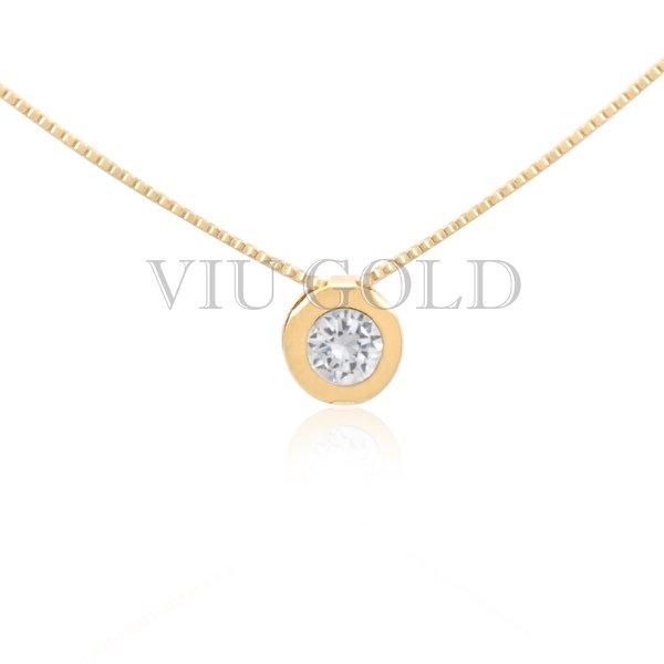 Gargantilha em ouro 18K amarelo com ponto de luz em Diamante Sintético