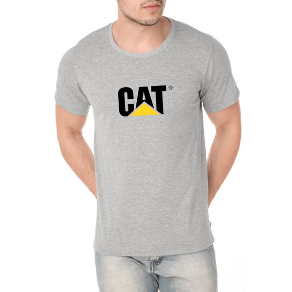 Camiseta Caterpillar Masculina 100% Algodão - Cinza