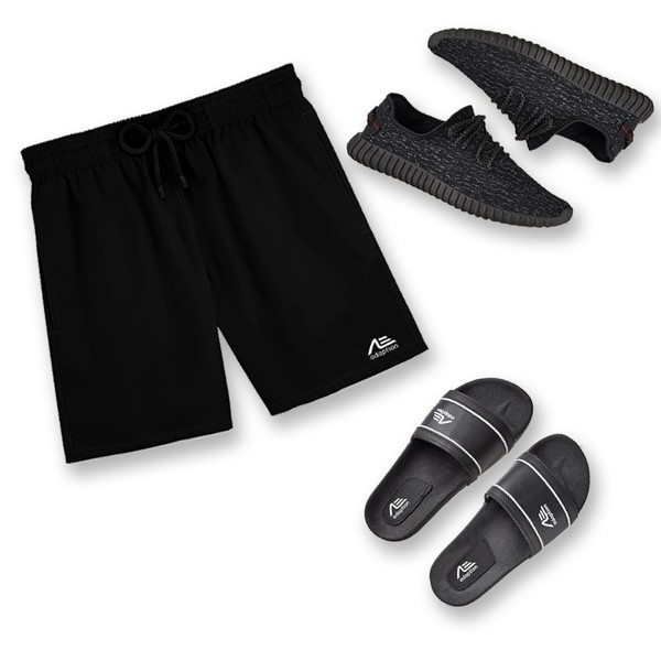Kit Bermuda Praia Tênis e Chinelo Adaption Preto/preto