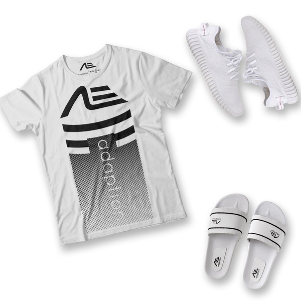 Kit Camiseta Gradient Tênis e Chinelo Adaption Branco