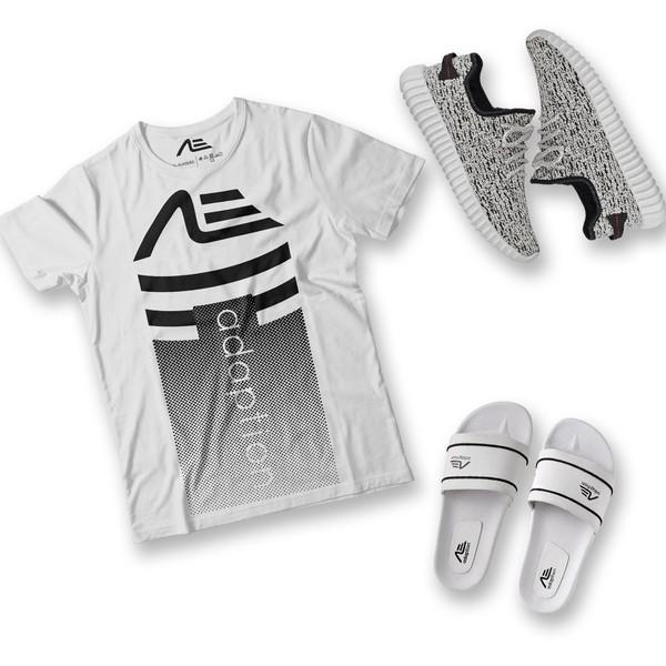 Kit Camiseta Gradient Tênis e Chinelo Adaption Branco/cinza