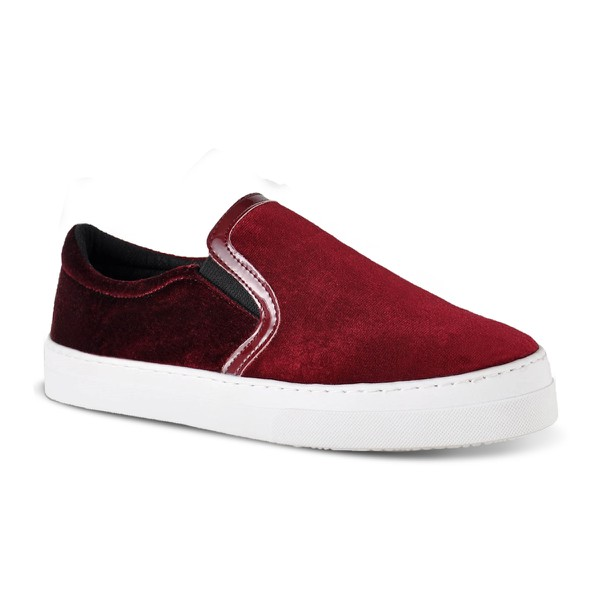 Slip On Feminino Veludo Emanuelly Bordo