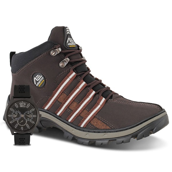 Coturno Masculino Adventure Adaption Tiger Marrom + Relogio