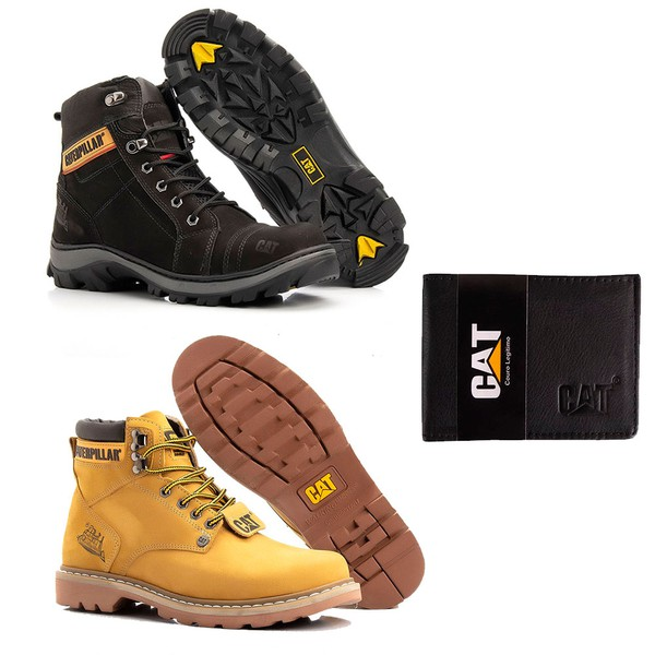 Kit Bota Caterpillar Second Shift + Bota Caterpillar Beast Wild + Carteira Porta Cartão