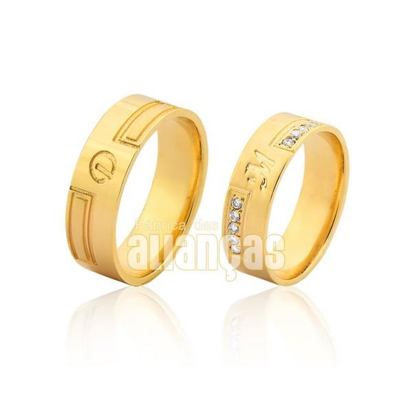Alianças de Noivado e Casamento em Ouro Amarelo 18k 0,750 FA-1018
