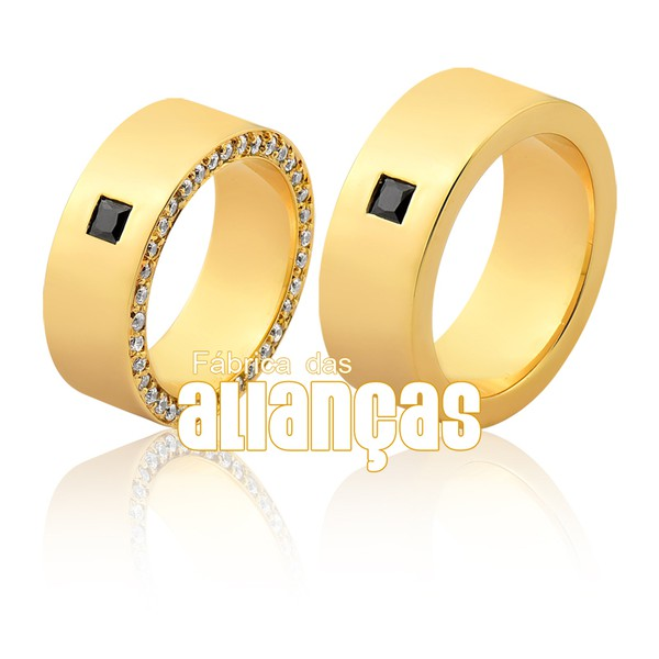 Alianças De Ouro Com Diamantes Negros