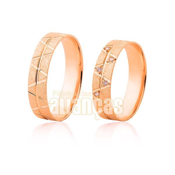 Par De Alianças De Ouro Rosê 18k