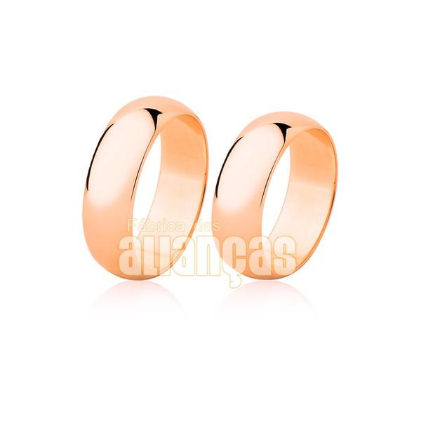 Alianças de Noivado e Casamento em Ouro Rose 18k 0,750 FA-26-R
