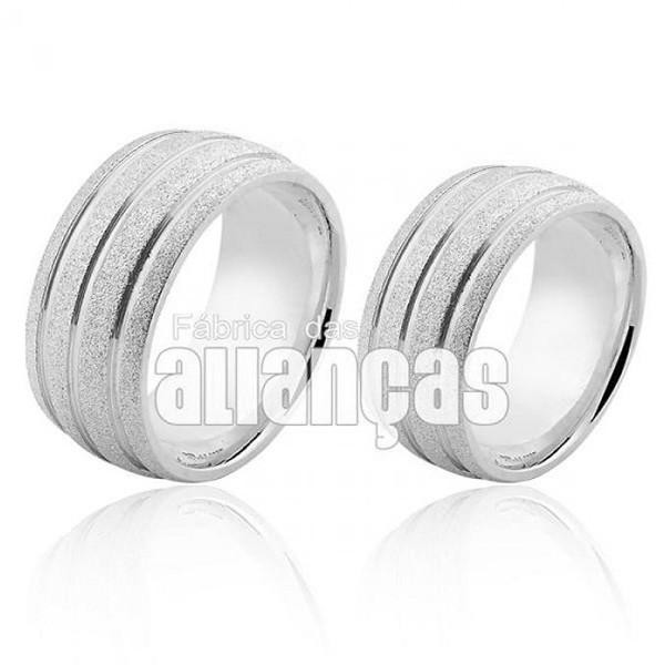 Aliança em Prata 0,950 k Diamantada com Frisos