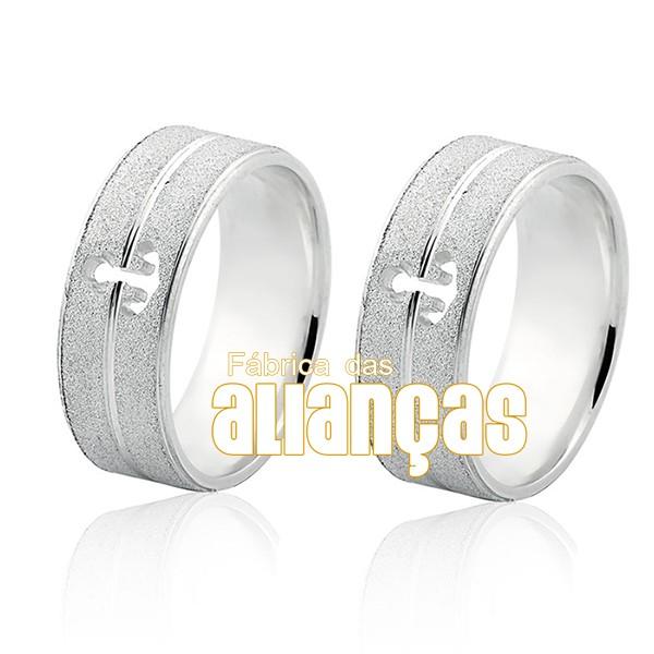 Aliança em Prata 0,950 k Reto Diamantada Com Ancora