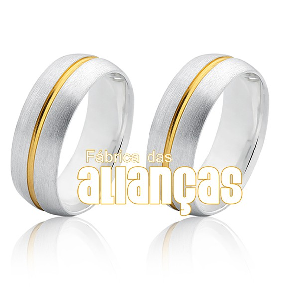 Aliança em Prata com detalhe banhado a ouro 18k