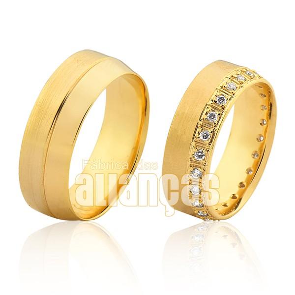 Alianças De Noivado e Casamento Em Ouro Amarelo 18k 0,750 Fa-1010