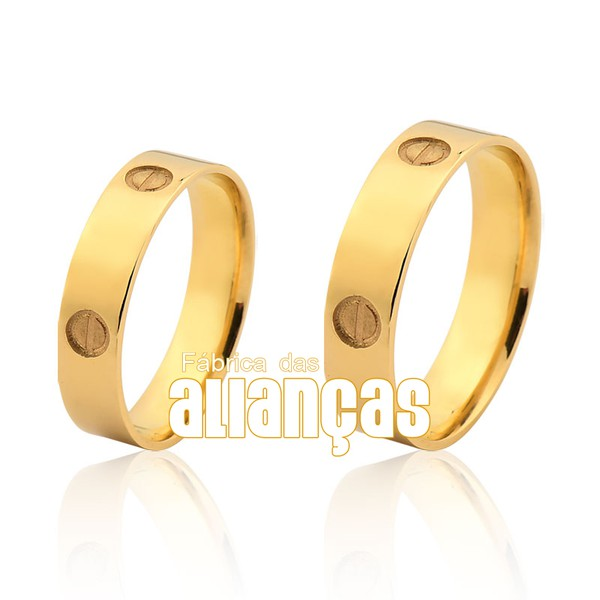 Alianças De Noivado e Casamento Em Ouro Amarelo 18k 0,750 Fa-1032