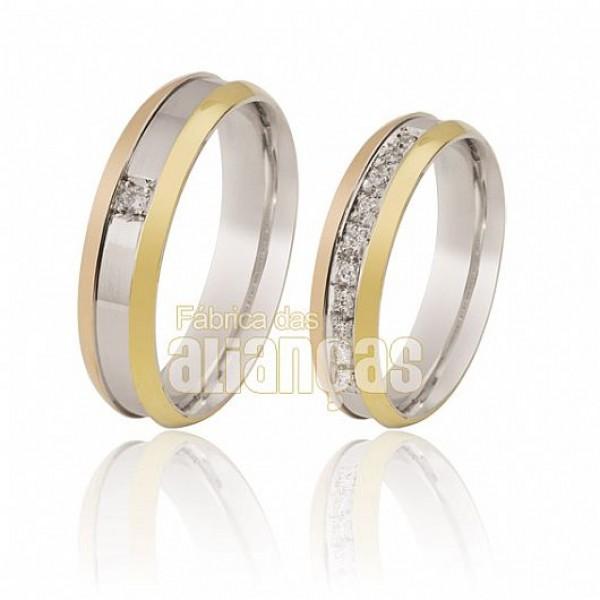 Alianças de Noivado e Casamento em Ouro Branco 18k 0,750 FA-113-Brilhante