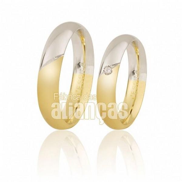 Aliança duas cores reforçada em ouro branco e amarelo 18k