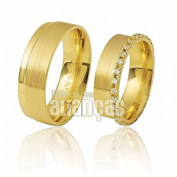 Alianças de Noivado e Casamento em Ouro Amarelo 18k 0,750 FA-285