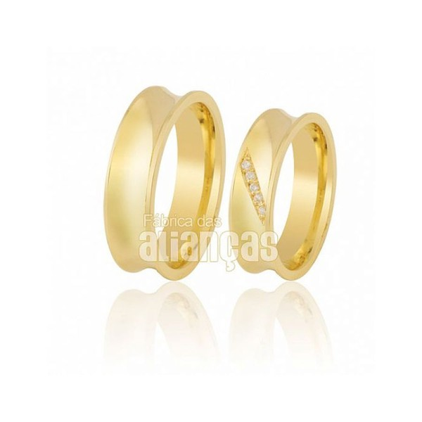 Alianças de Noivado e Casamento em Ouro Amarelo 18k 0,750 FA-408
