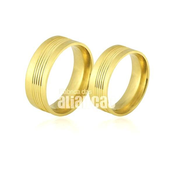 Alianças de Noivado e Casamento em Ouro Amarelo 18k 0,750 FA-492