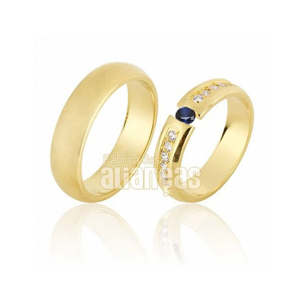 Alianças de Noivado e Casamento em Ouro Amarelo 18k 0,750 FA-640-Safira Azul