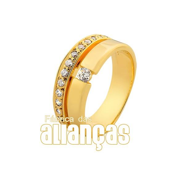 Aparador Para Aliança de Noivado e Casamento em ouro 18K 0,750 FA-814-U