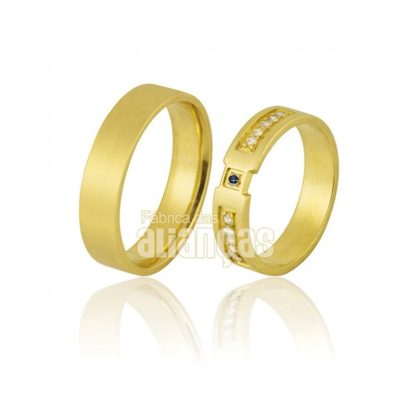Alianças De Noivado e Casamento Em Ouro Amarelo 18k 0,750 Fa-855-safira Azul