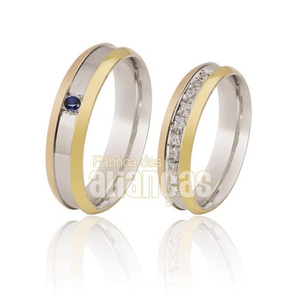 Alianças de Noivado e Casamento em Ouro Branco 18k 0,750 FA-113-Safira Azul
